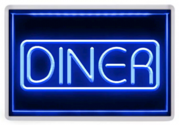 Diner Neon Sign Fridge Magnet. Retro Americana. Fast Food